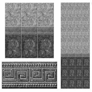 Стеновая панель ПВХ КронаПласт Керамика Рим Черный С Глиттером Серебро